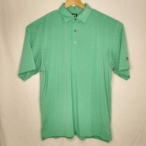 FJ FootJoy XL Green White Patterned Golf Polo